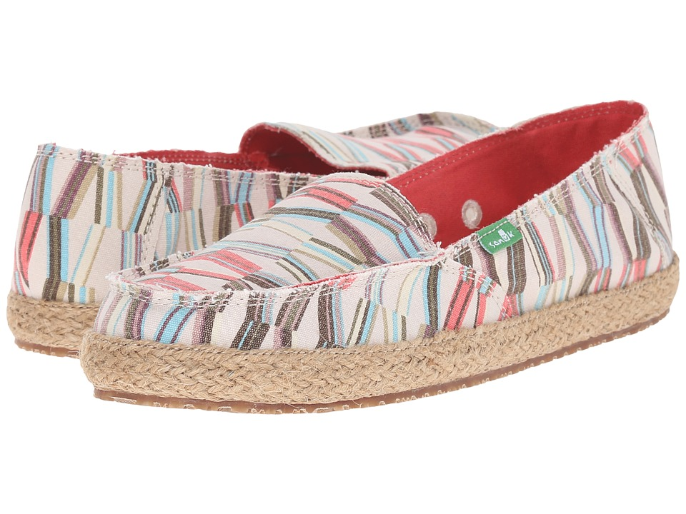 Sanuk Funky Fiona Ivory/Spiced Coral Mod Geo Womens Slip on Shoes