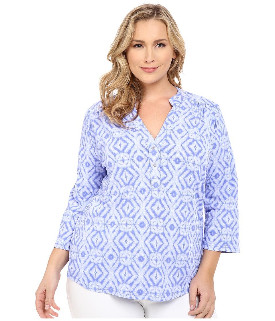 Fresh Produce Plus Size Shibori Dockside Henley Peri Blue Womens Long Sleeve Pullover