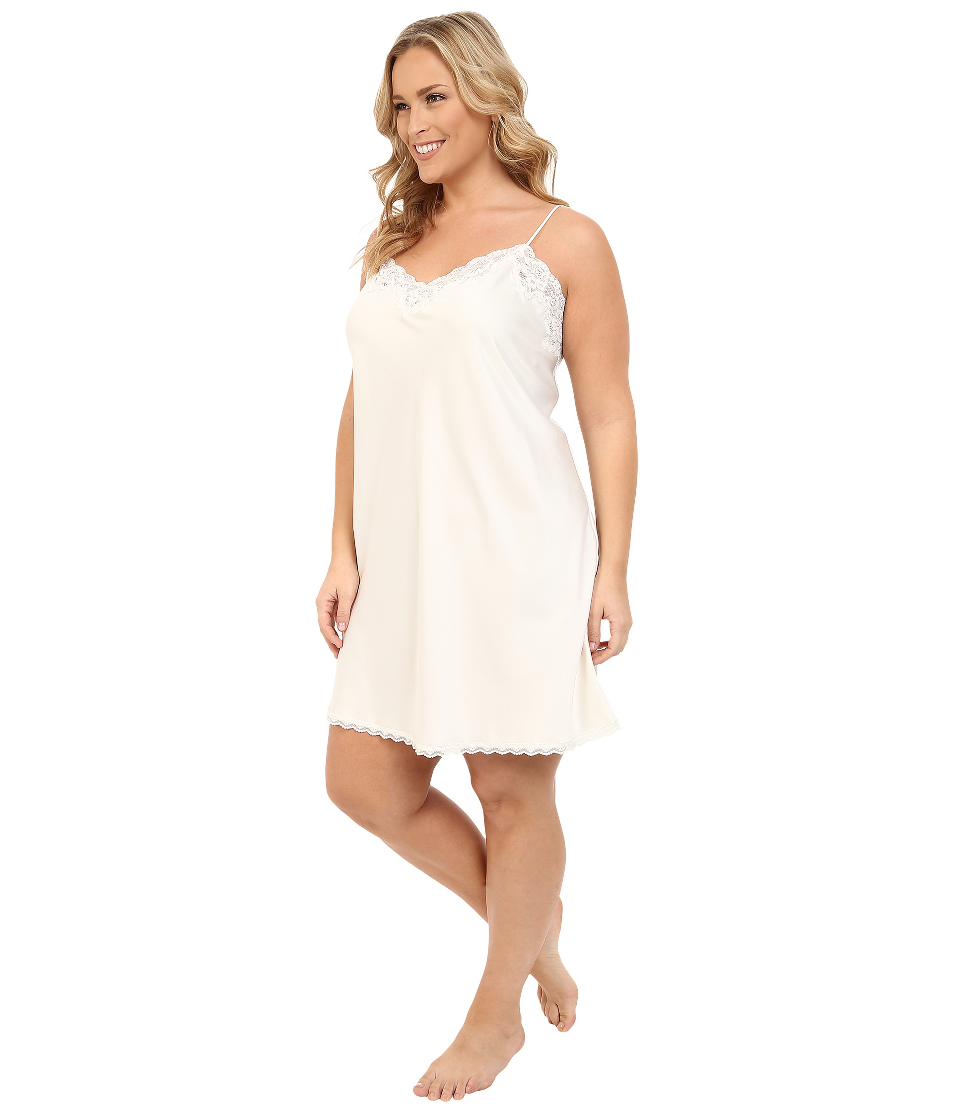 lauren ralph lauren plus size satin chemise ivory free shipping both ways. Black Bedroom Furniture Sets. Home Design Ideas