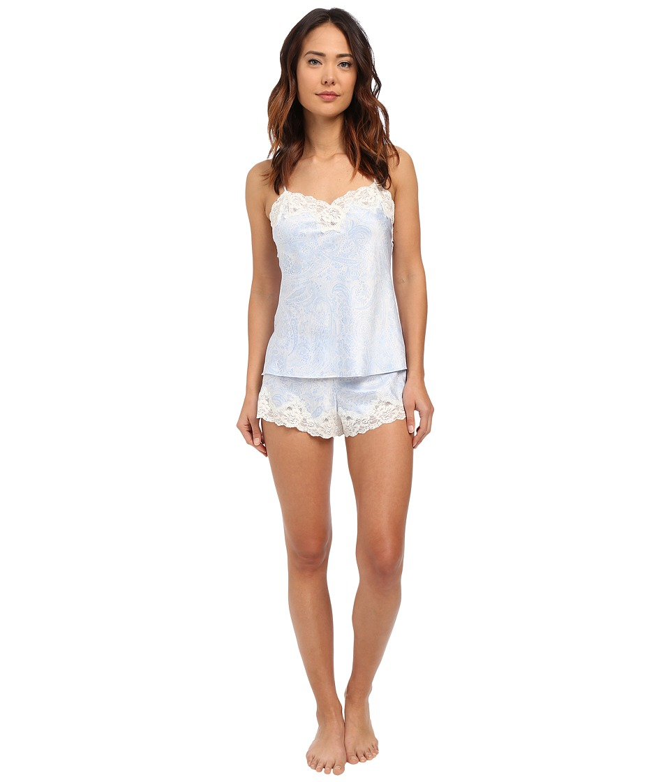 LAUREN Ralph Lauren Satin Cami Top Pajama Set Paisley Blue/Ivory Ground Womens Pajama Sets