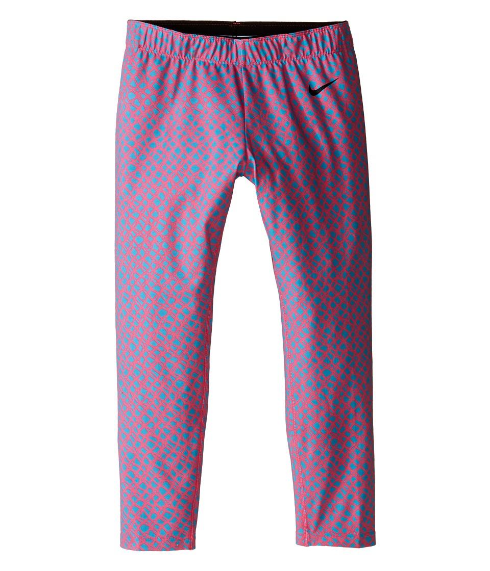Nike Kids Club Leggings Crop AOP Little Kids/Big Kids Digital Pink/Omega Blue/Black Girls Casual Pants
