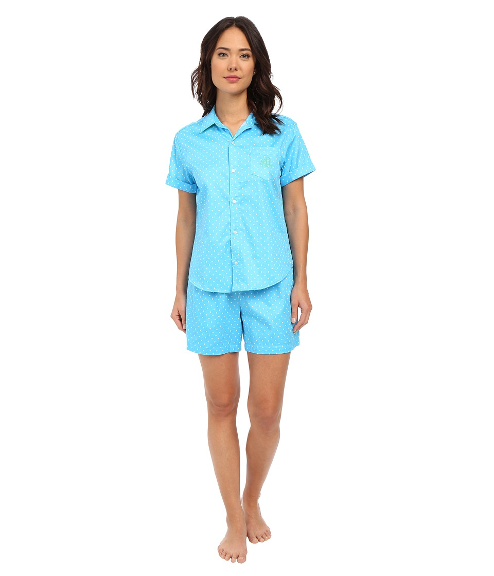 LAUREN Ralph Lauren Sateen Boxer Pajama Set Dot Turquoise/White Womens Pajama Sets