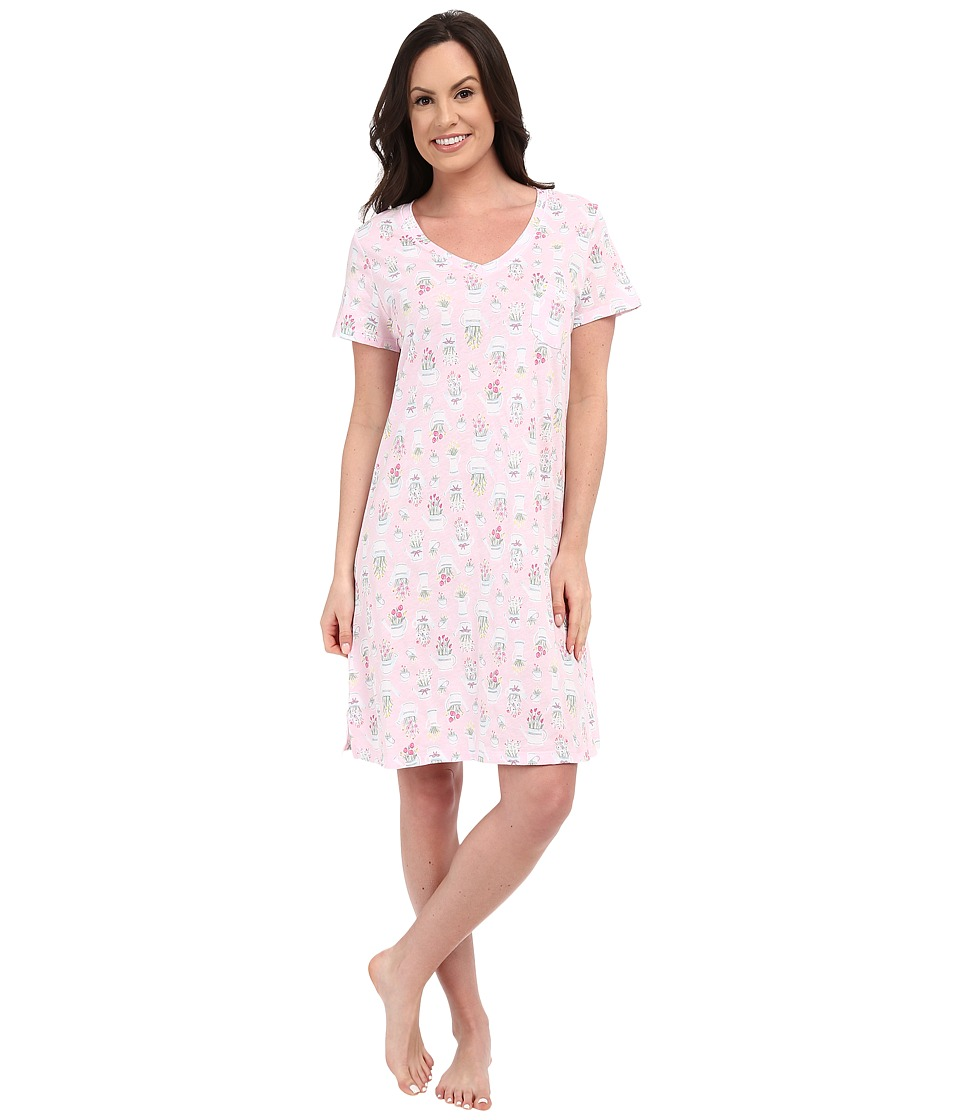 Carole Hochman Cotton Printed Sleepshirt Watering Flowers Womens Pajama