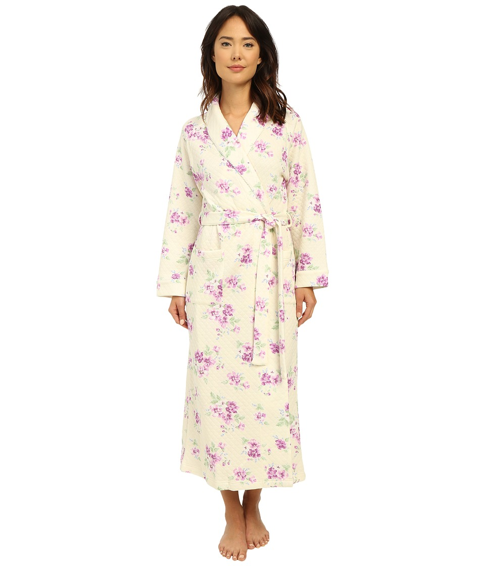 Carole Hochman Diamond Quilt Floral Long Robe Pansy Womens Robe