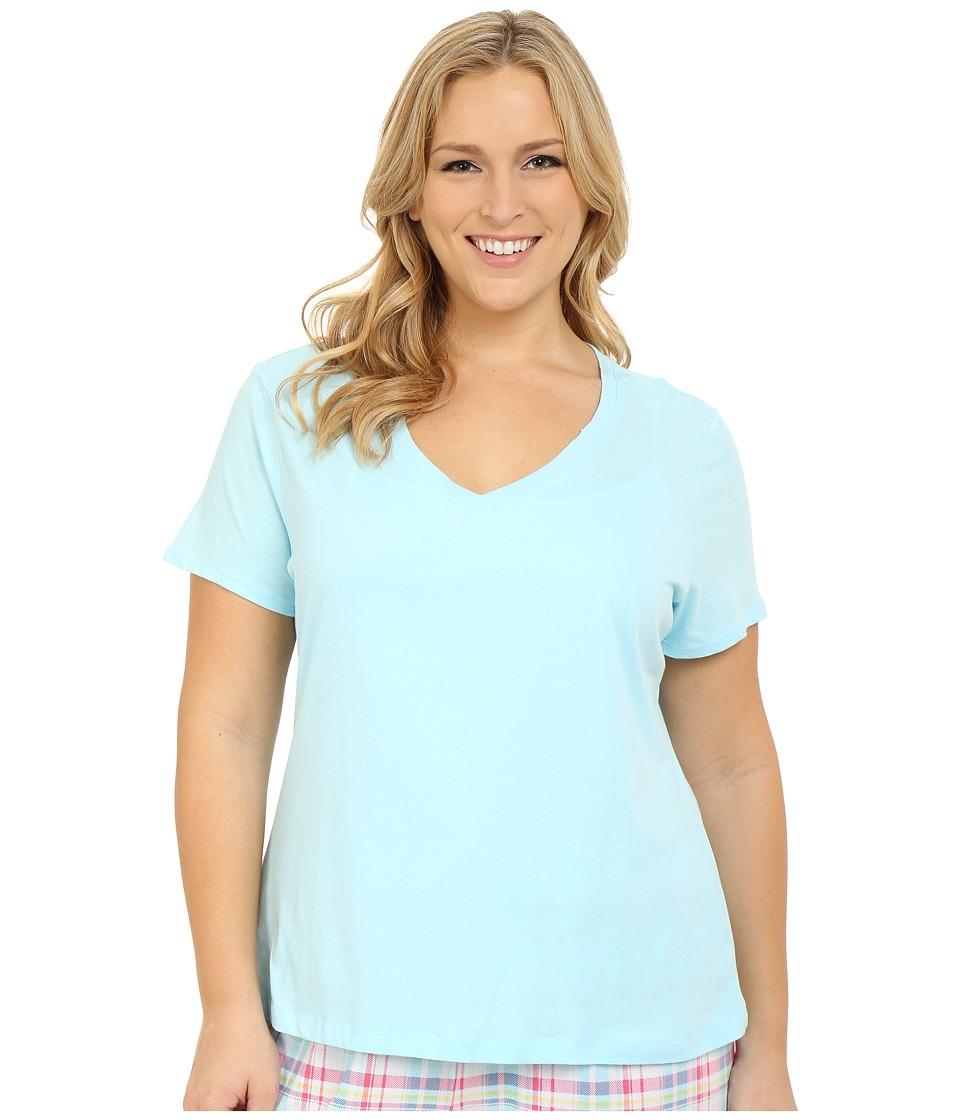 Jockey Jockey Cotton Essentials Plus Size V Neck Tee Surf Blue Womens Pajama