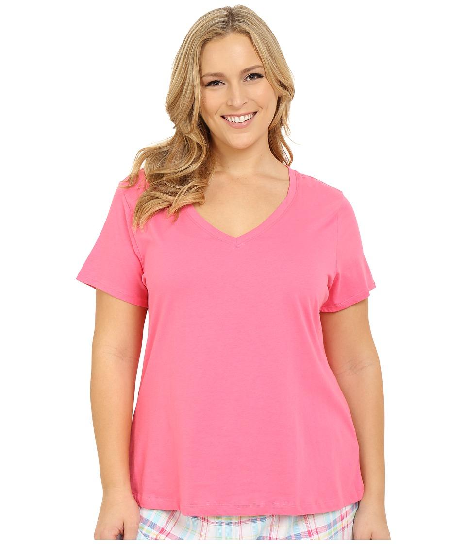 Jockey Jockey Cotton Essentials Plus Size V Neck Tee Coral Womens Pajama