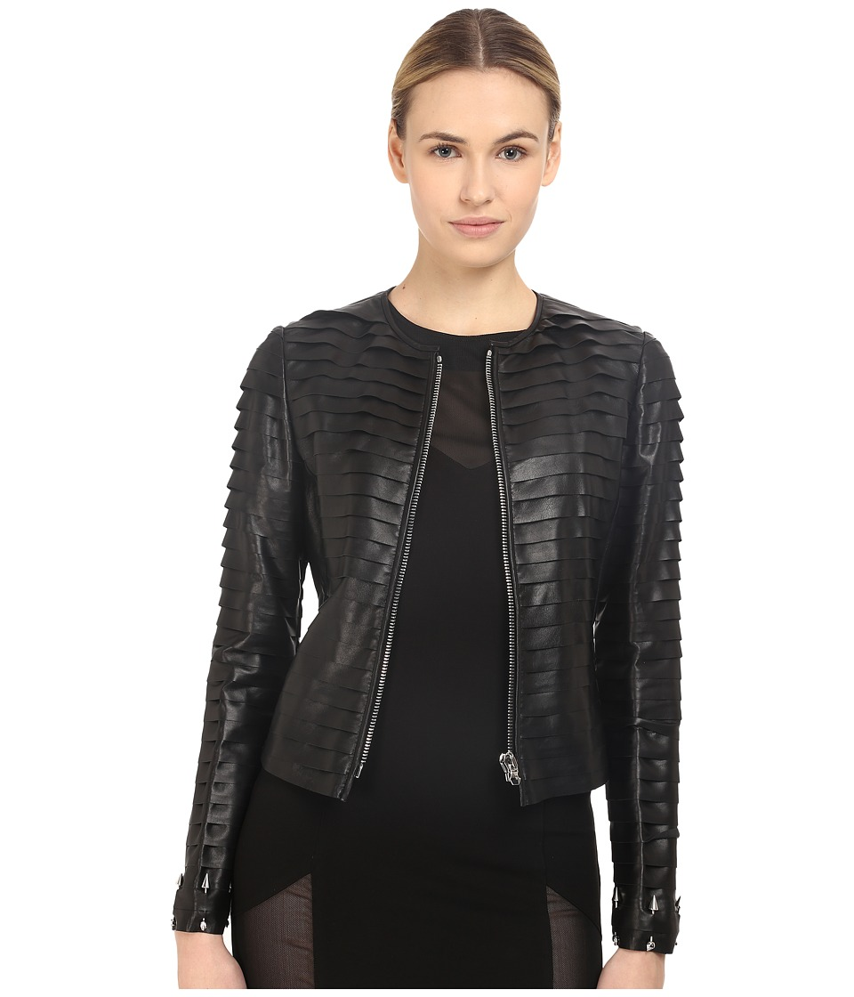 Philipp Plein Layered Element Leather Jacket Black Womens Coat