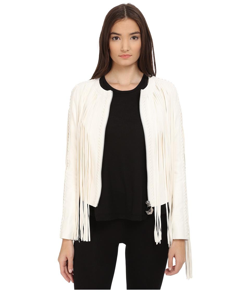 Philipp Plein Fringe Tribute Leather Jacket White Womens Coat