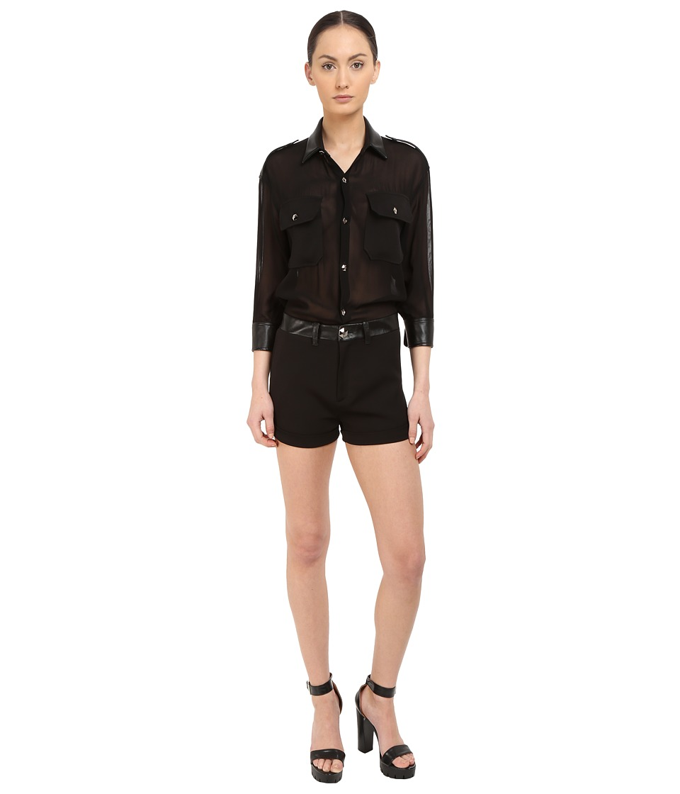 Philipp Plein You Are Here Sheer Romper Black Womens Jumpsuit Rompers One Piece