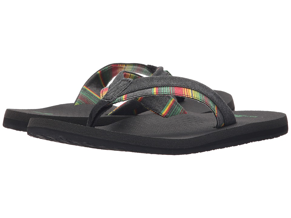 Sanuk Beer Cozy Light Funk Black/Rasta Blanket Stripe Mens Sandals