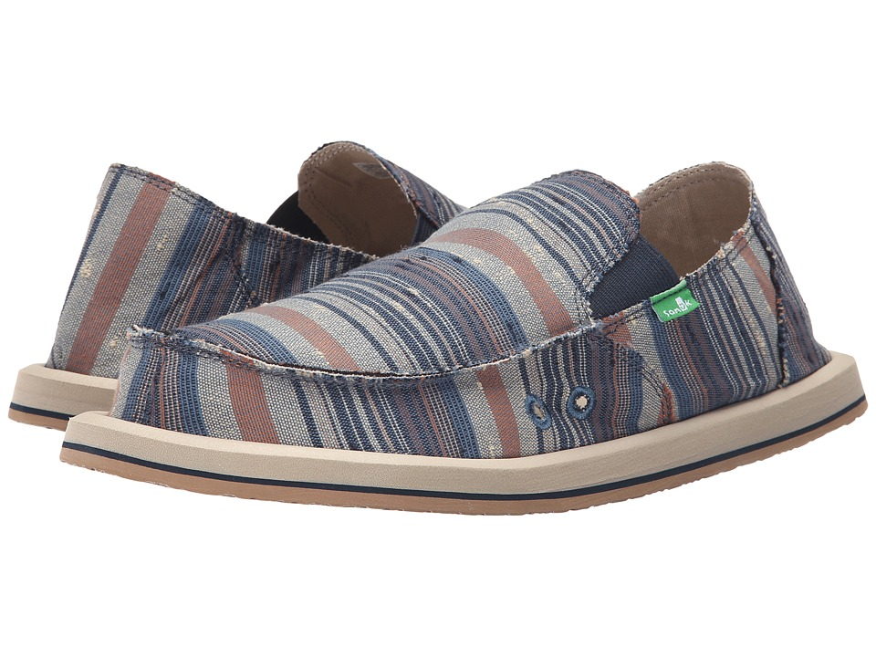 Sanuk - Donny (Blue Vintage Denim Stripe) Men