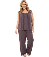 Midnight by Carole Hochman - Plus Size Modal Short Sleeve Pajama with Satin