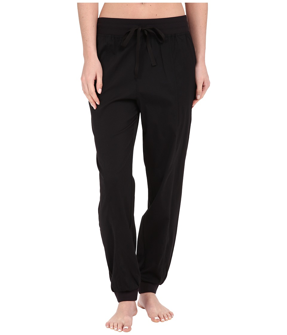 Midnight by Carole Hochman Lounge Woven Jogger Pants Black Womens Pajama