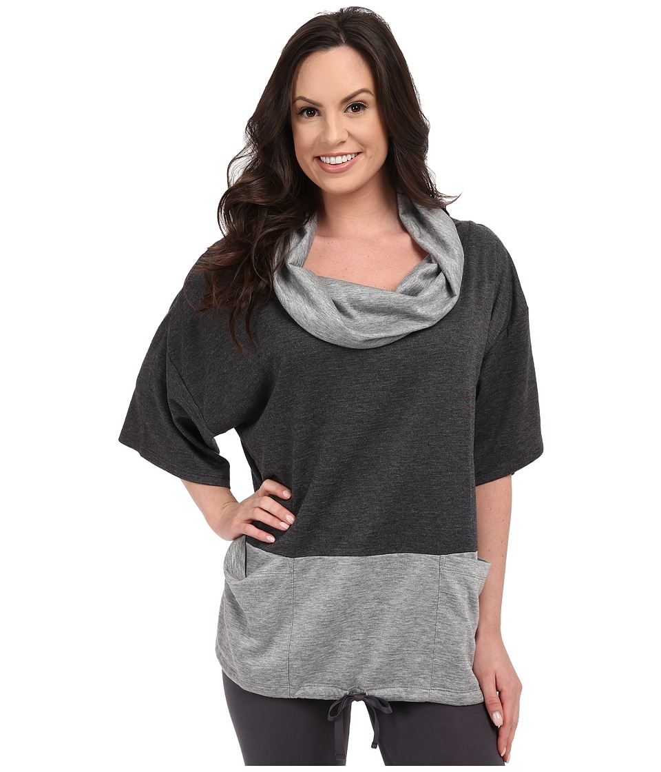 Midnight by Carole Hochman Lounge Funnel Neck Top Charcoal Heather/Heather Grey Womens Pajama