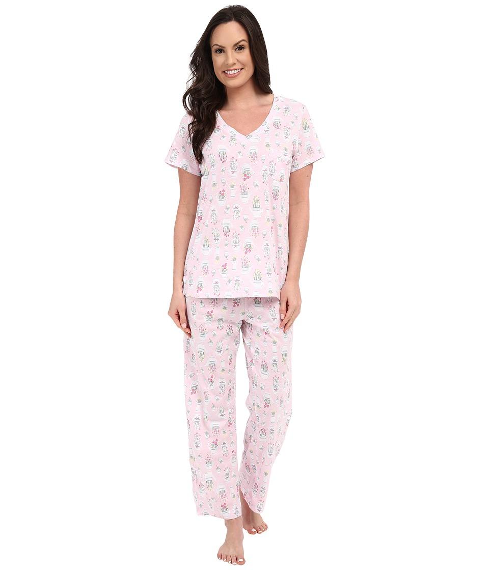 Carole Hochman Cotton Printed Capris Pajama Watering Flowers Womens Pajama Sets