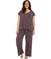 Midnight by Carole Hochman - Plus Size Pajama with Striped Burnout
