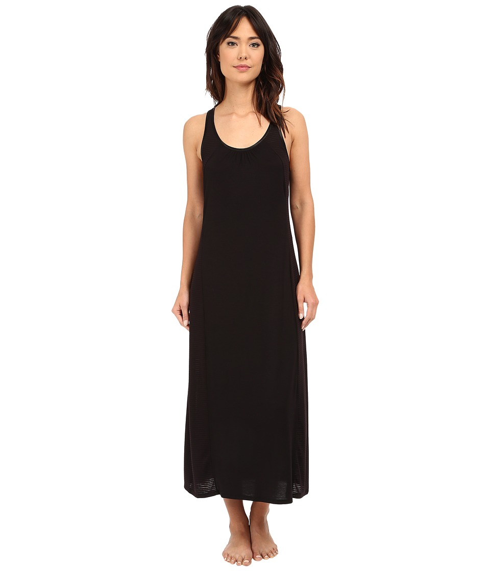 Midnight by Carole Hochman Long Gown with Striped Burnout Black Womens Pajama