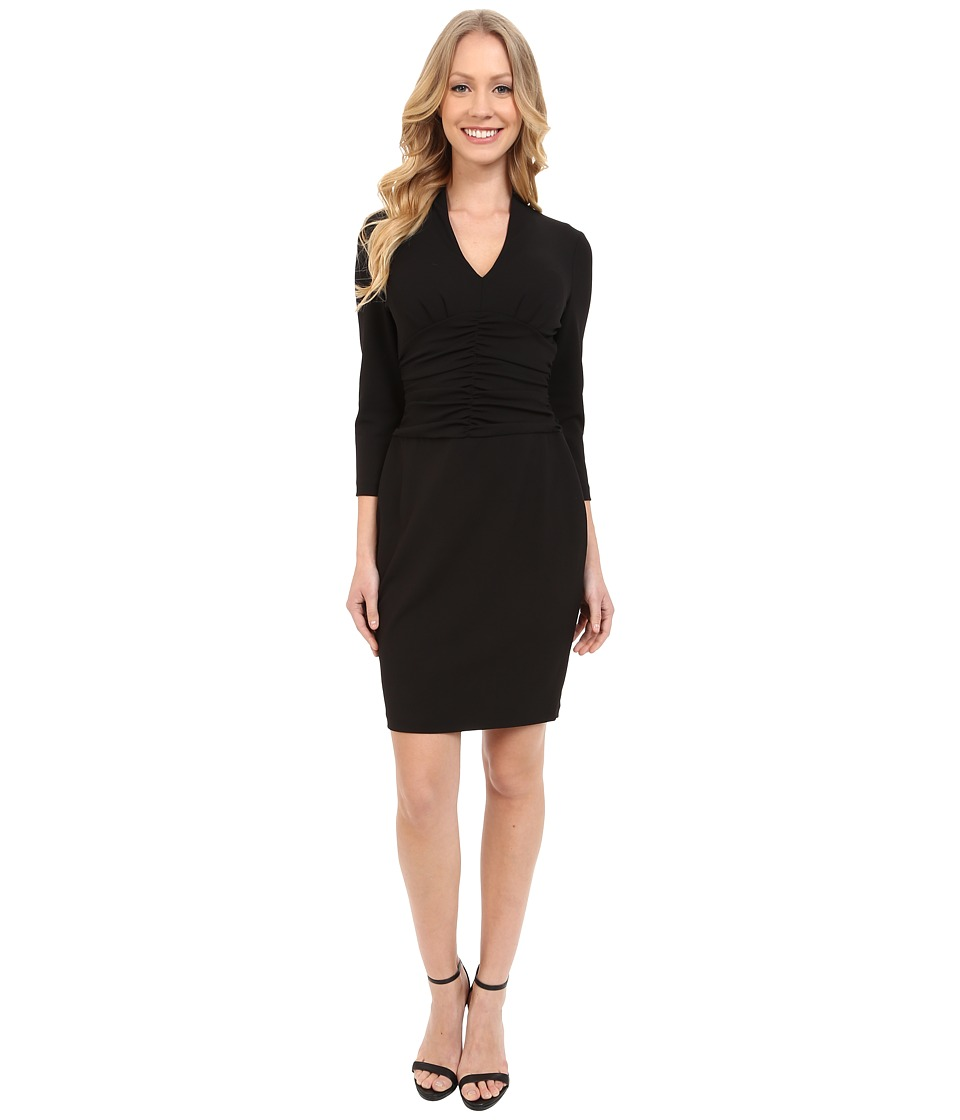 NYDJ Ruched Side Stretch Crepe Dress Black Womens Dress