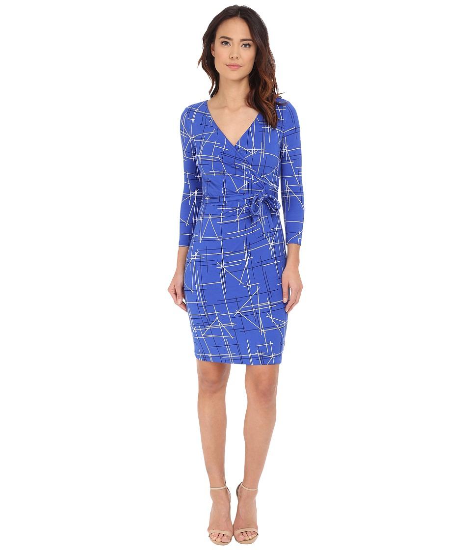 NYDJ Antoinette Paradise Flourish Wrap Dress Electric Triangles Blue Sapphi Womens Dress