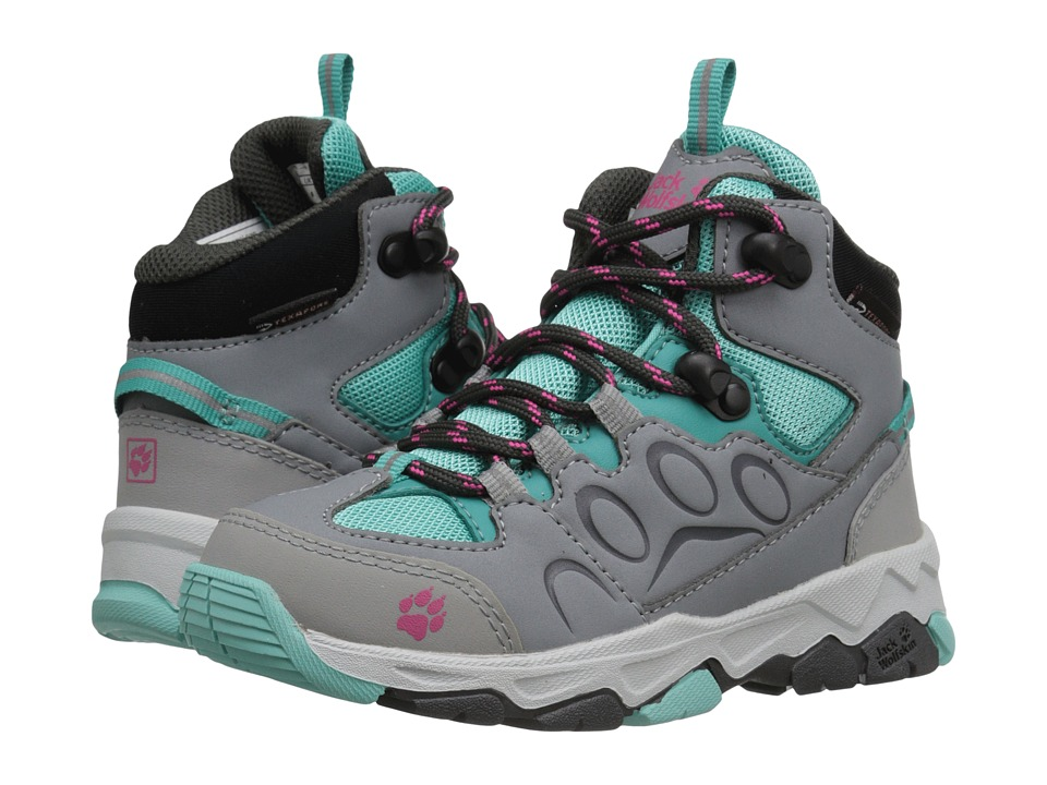 Jack Wolfskin Kids Mountain Attack 2 Waterproof Mid Toddler/Little Kid/Big Kid Pool Blue Girls Shoes