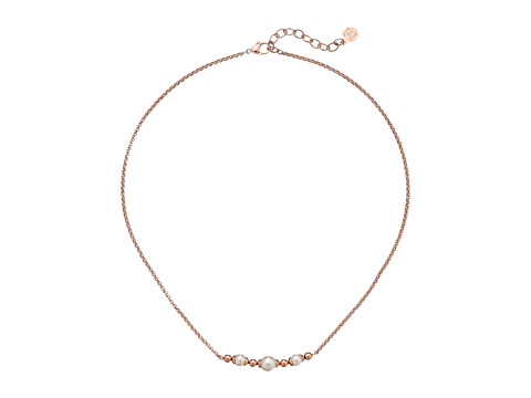 Majorica Allison Bar Necklace - Rose/White