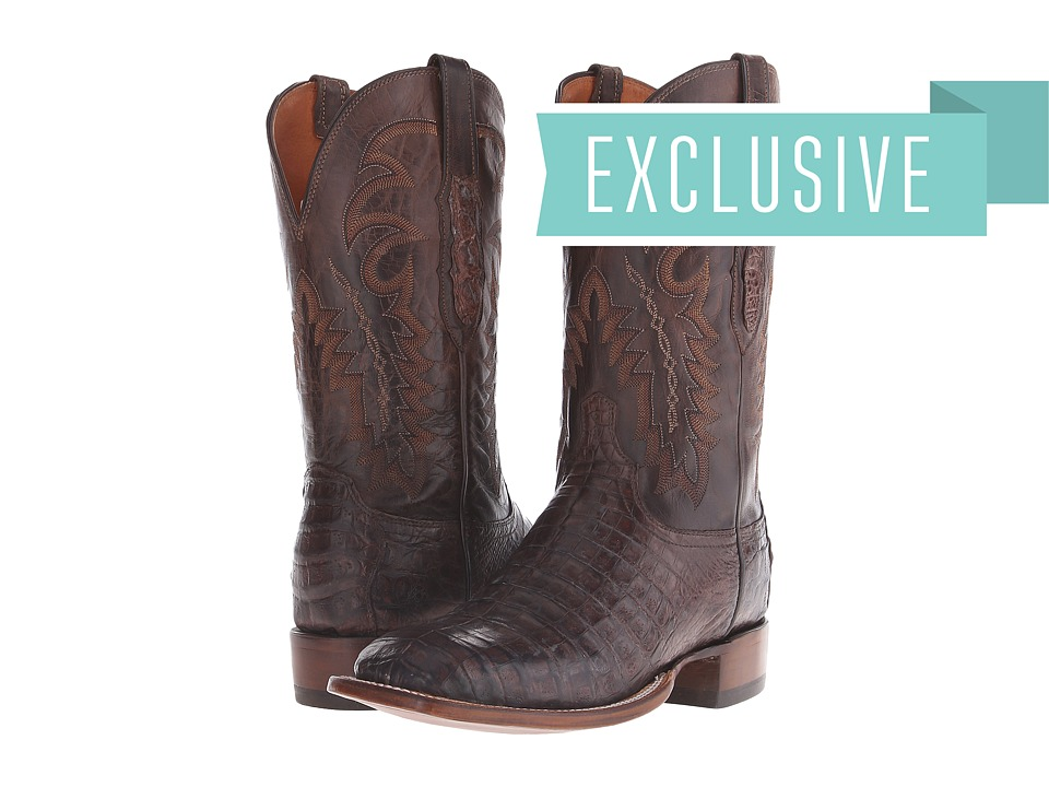 CL8072.WF (Stonewashed Chocolate Caiman Belly/Chocolate Mad Goat) Cowboy Boots
