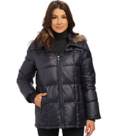 Kenneth Cole New York - Cheveron Quilt Down Jacket w/ Faux Fur Trim Hood