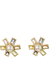 LAUREN Ralph Lauren - Pearls Rock Pearl Faceted Stone Flower Clip Earrings