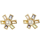 LAUREN Ralph Lauren Pearls Rock Pearl Faceted Stone Flower Clip Earrings