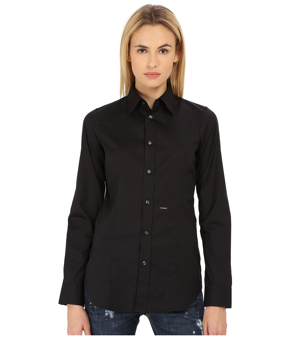 DSQUARED2 - Classic One Button Shirt (Black) Womens Long Sleeve Button Up