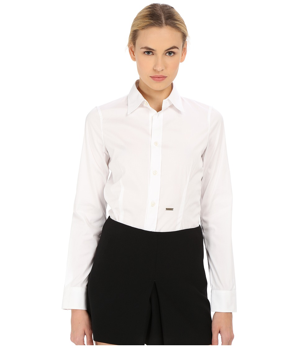 DSQUARED2 Classic One Button Shirt (White) Women's Long S...