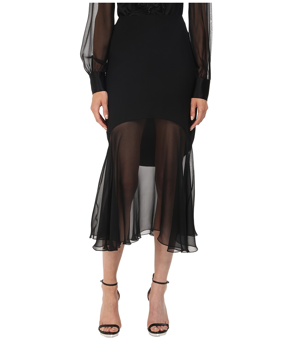 Prabal Gurung Charmeuse Illusion Skirt Black Womens Skirt