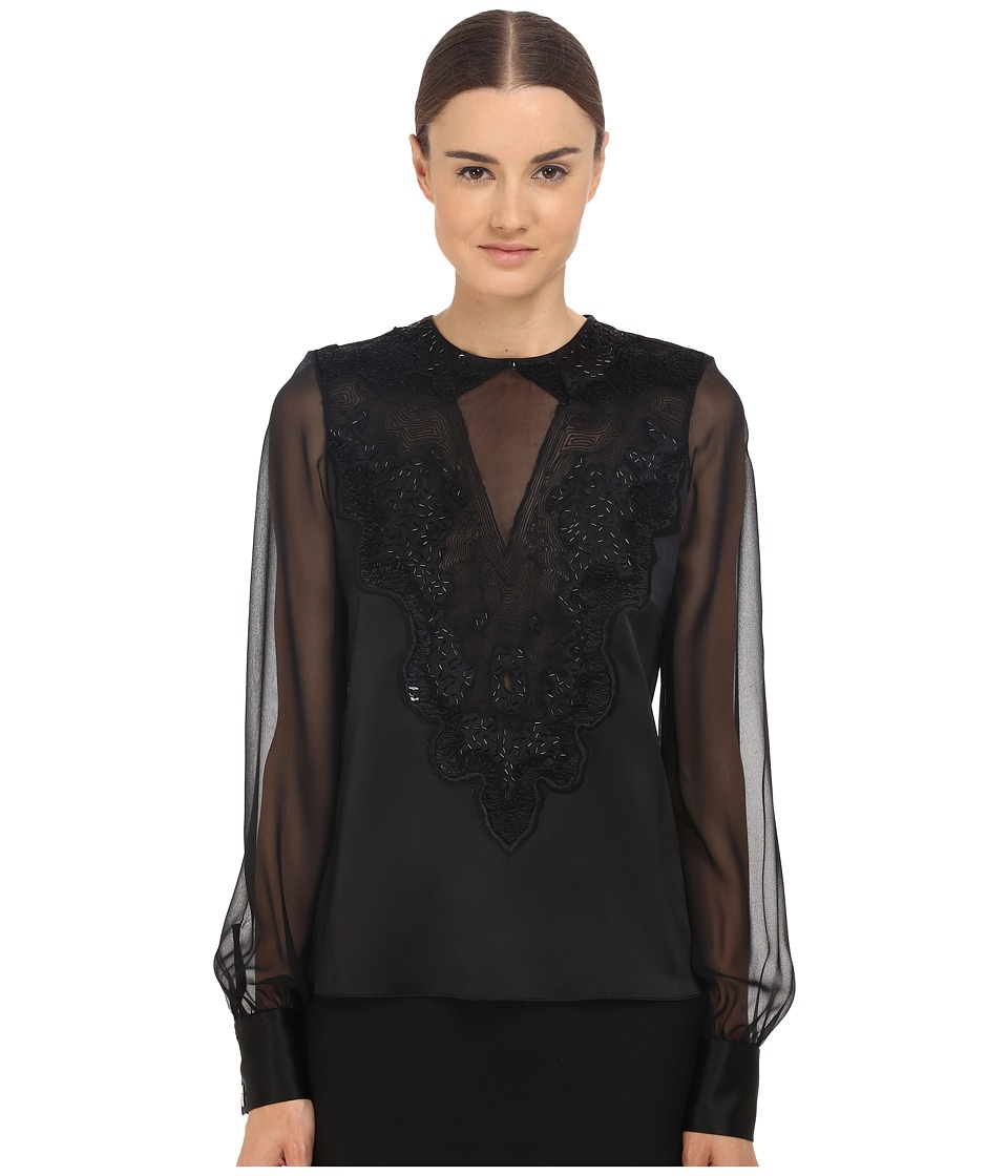 Prabal Gurung Embroidered Sheer Blouse Black Womens Blouse
