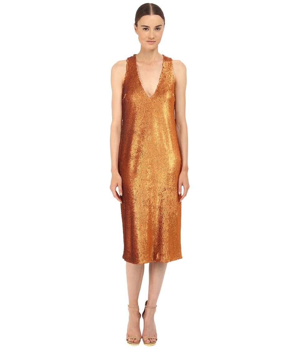 Prabal Gurung Dusted Paillette Sleeveless Dress Saffron Womens Dress