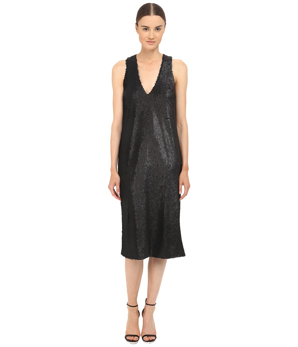 Prabal Gurung Dusted Paillette Sleeveless Dress Black Womens Dress