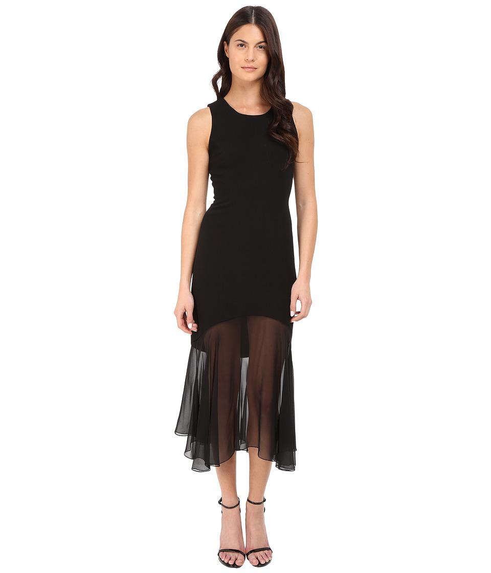 Prabal Gurung Crepe Illusion Sleeveless Dress Black Womens Dress