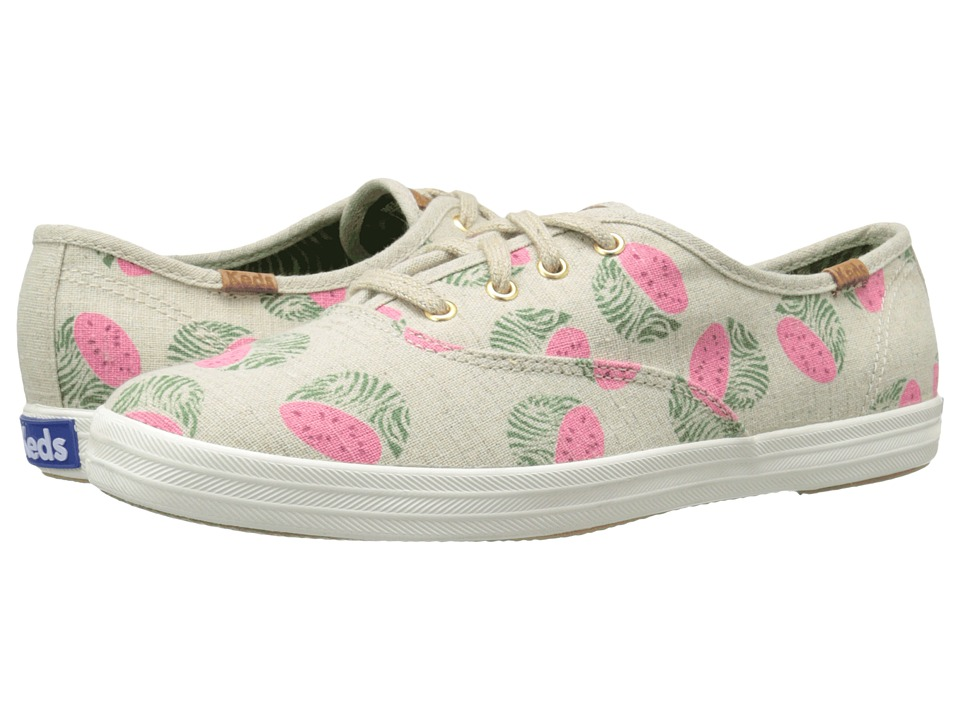 Keds Champion Fruity Animals Natural Watermelon Linen Womens Lace up casual Shoes