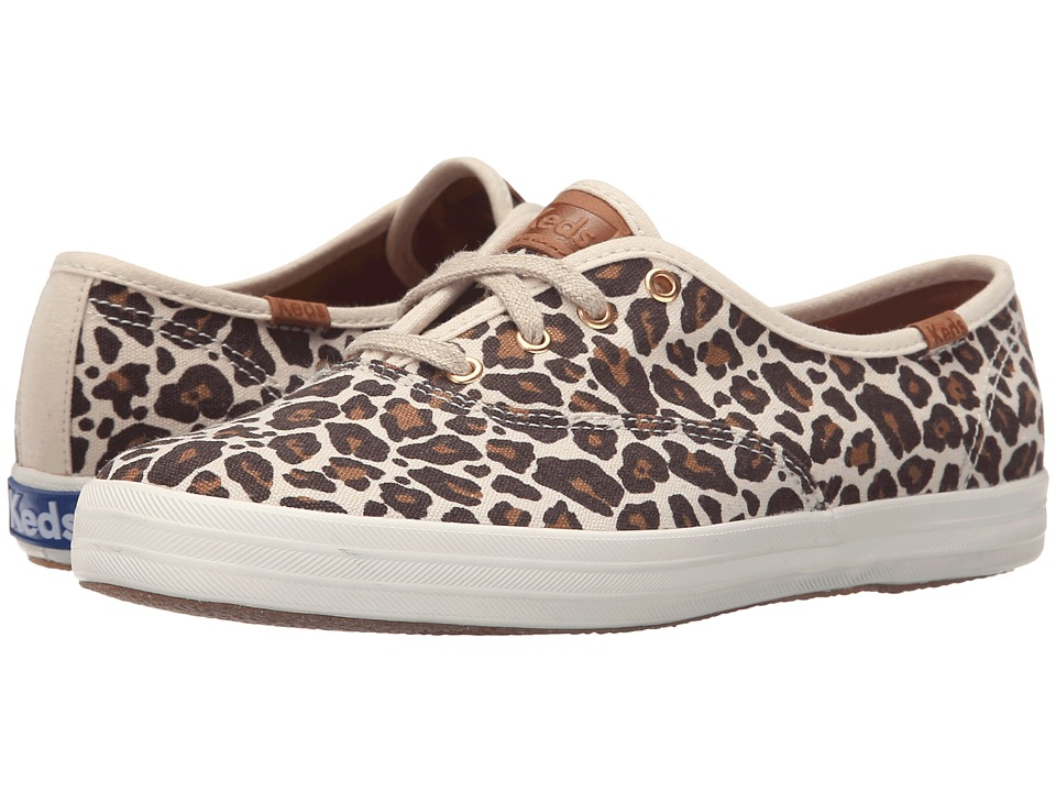 Keds Champion Animal Brown Leopard Linen Womens Slip on Shoes