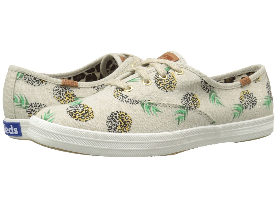 Keds Champion Fruity Animals Natural Pineapple Linen Womens Lace up casual Shoes