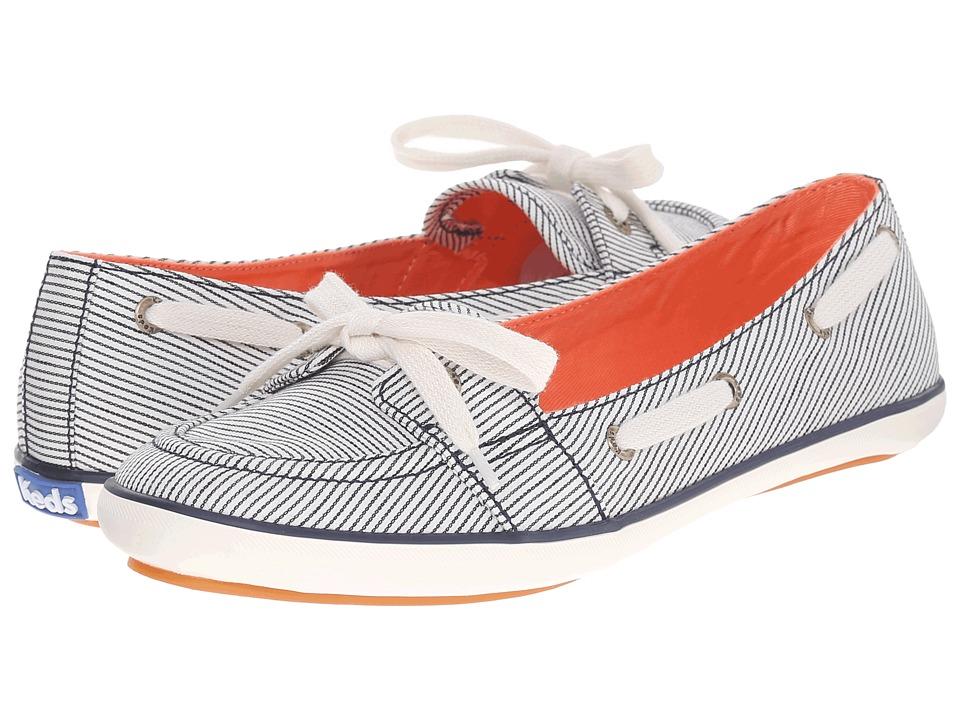Keds Teacup Boat Railroad Stripe Navy Railroad Stripe Womens Flat Shoes