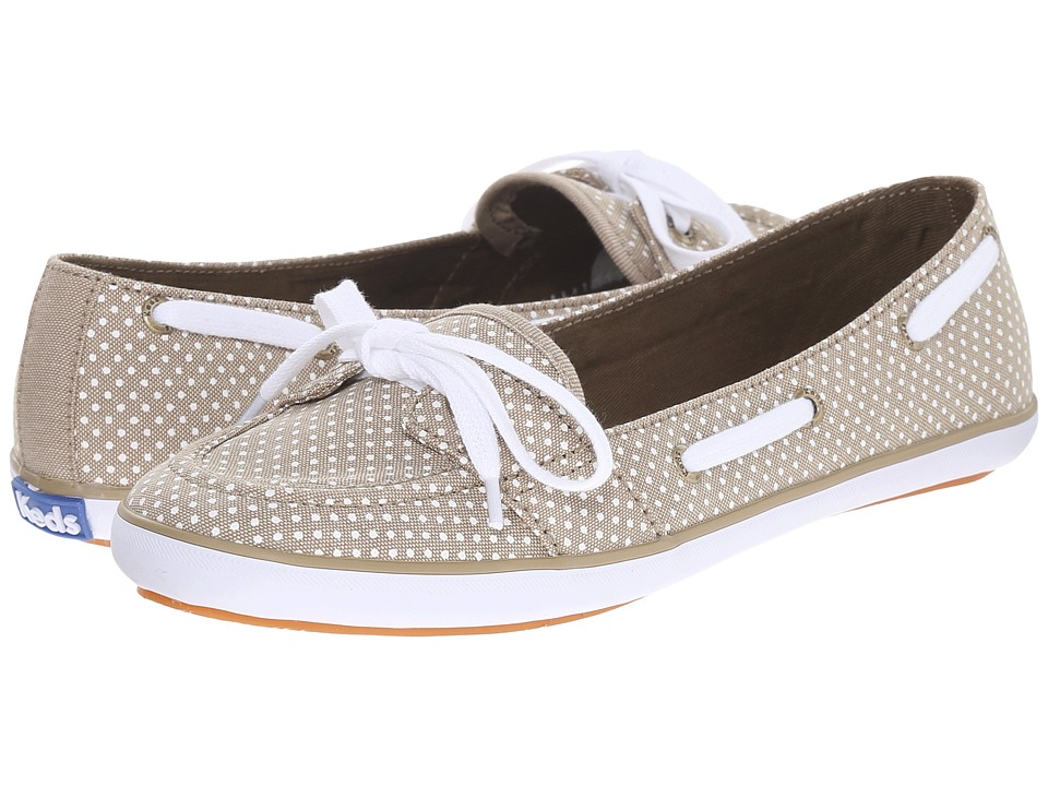 Keds Teacup Boat Micro Dot Olive Chambray Womens Flat Shoes