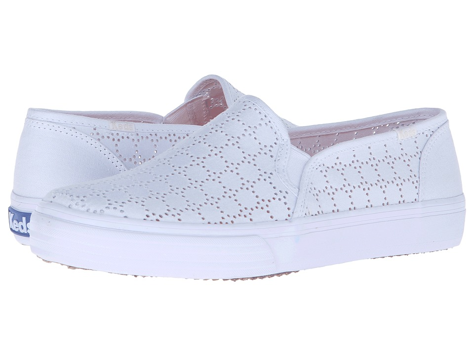 Keds Double Decker Perf White Canvas Womens Slip on Shoes
