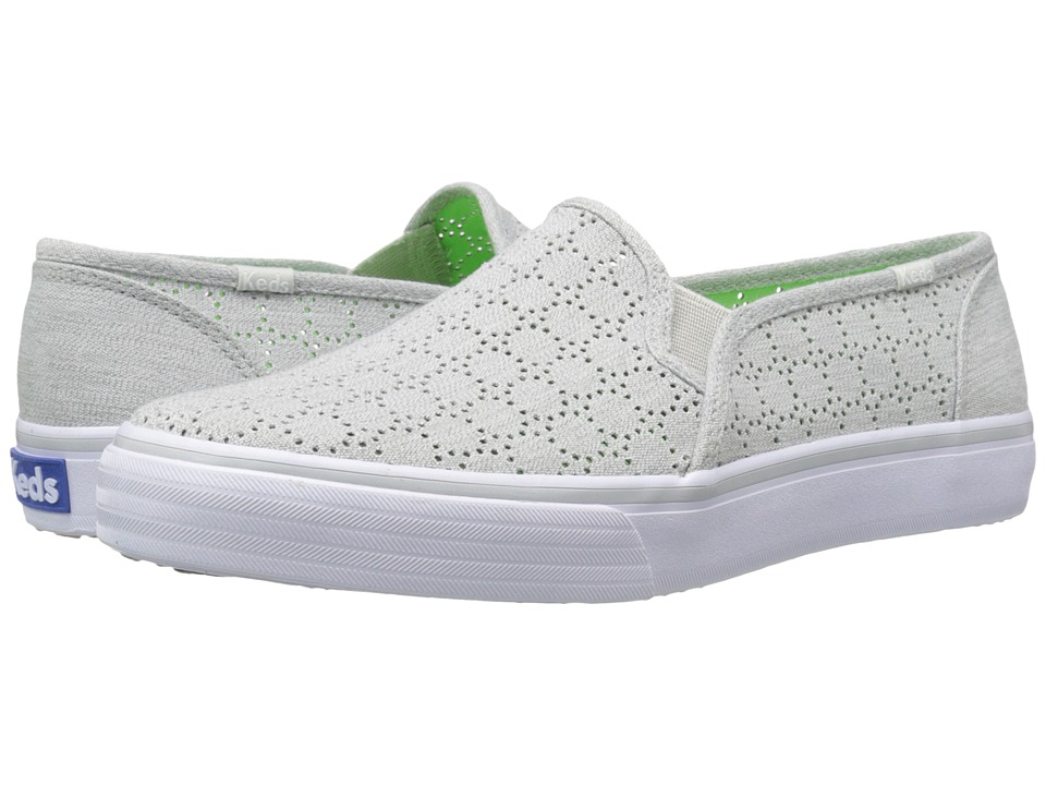 Keds Double Decker Perf Gray Heathered Canvas Womens Slip on Shoes