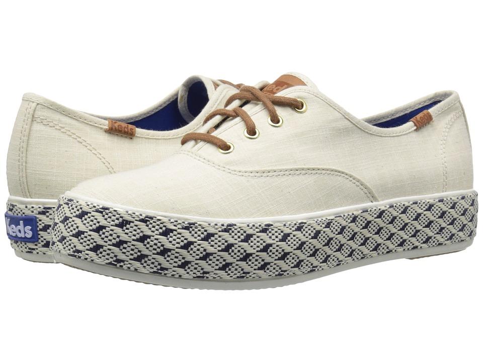 Keds Triple Raffia Foxing Natural Linen/Geo Raffia Womens Slip on Shoes