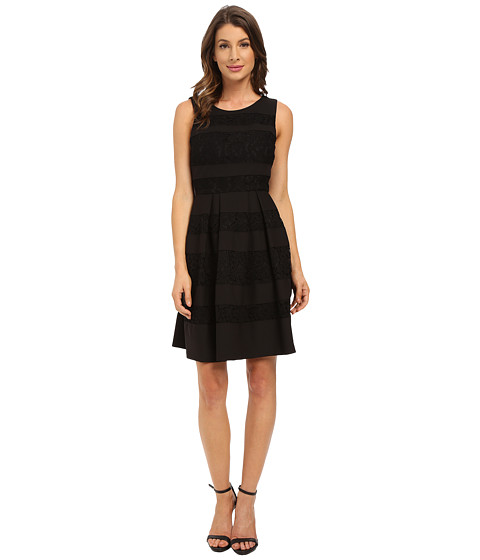 Donna Morgan Sleeveless Crepe and Lace Fit and Flare