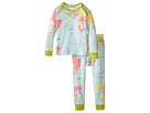 Image of BedHead Kids - Long Sleeve Baby Tee Pant Set (Infant) (Aqua Around The World) Kid's Pajama Sets