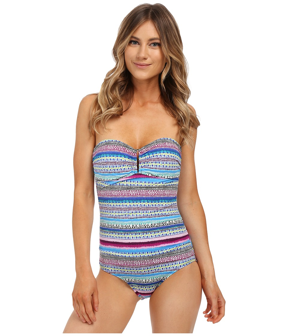 Jantzen Painted Stripe Bandeau One Piece with Hardware Multi Womens Swimsuits One Piece