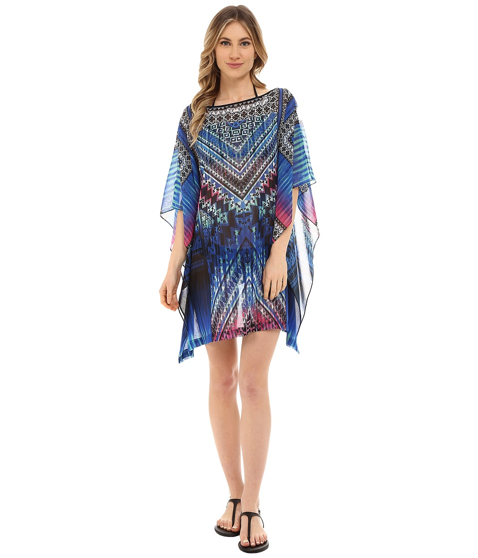 Jantzen Palazzo Mosaic Caftan Cover Up Multi Womens Swimwear