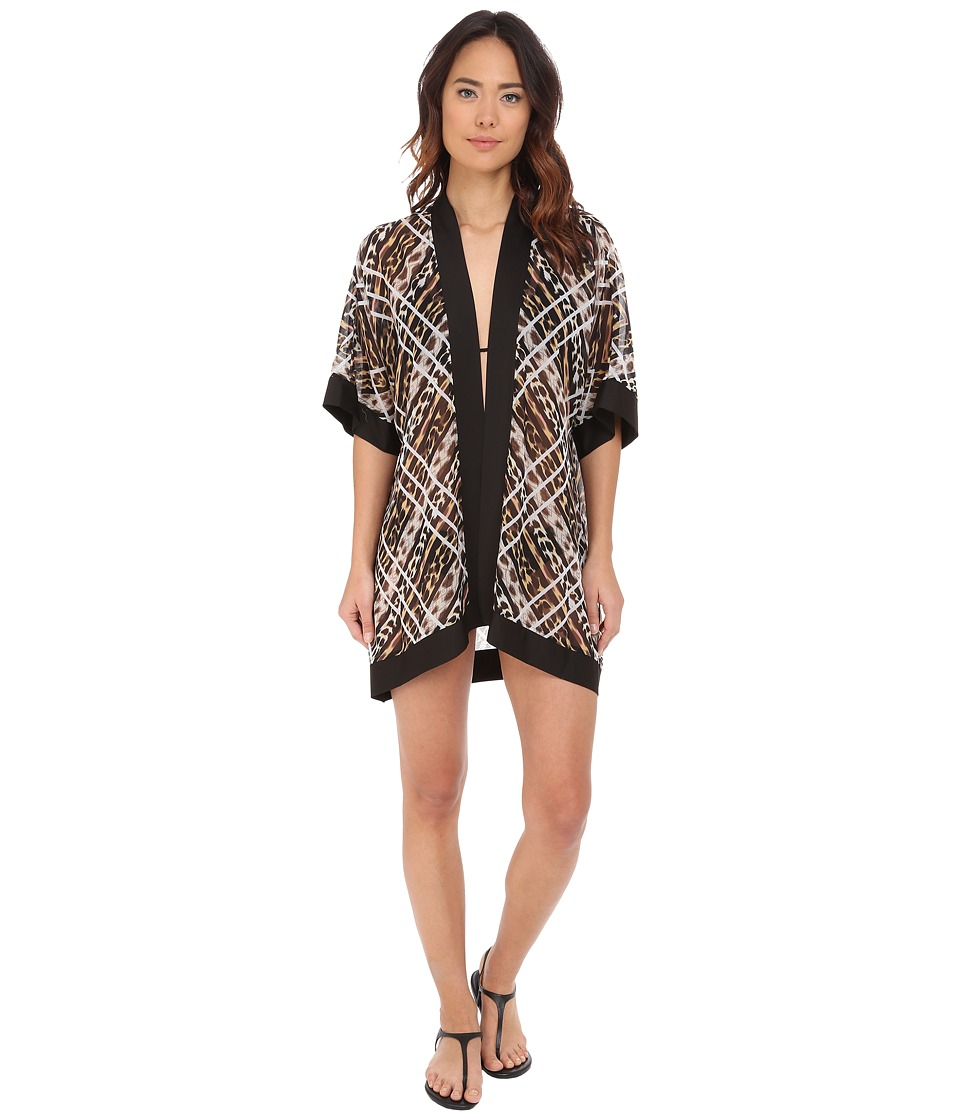 Jantzen Animale Kimono Cover Up Black Womens Swimwear