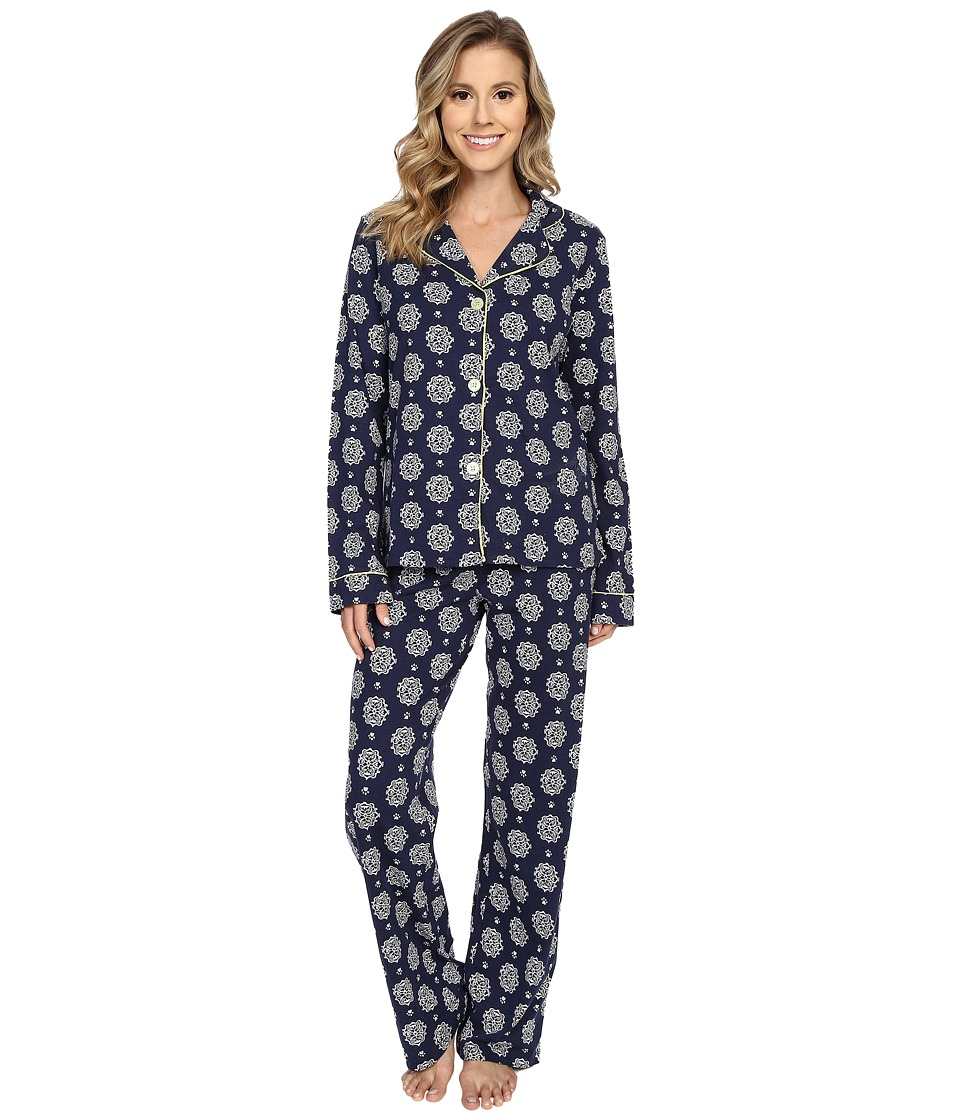 P.J. Salvage Cat Print PJ Set Navy Womens Pajama Sets